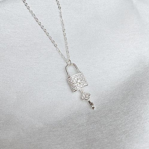 Pave padlock and key necklace