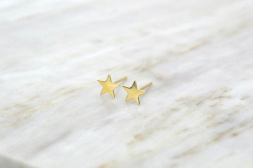 14K Solid Gold Triple CZ diamond stud earring