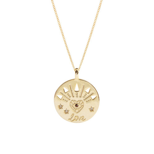 Round Eye in Heart Pendant Necklace