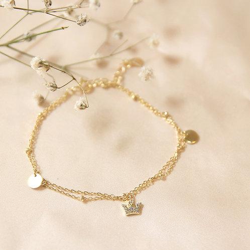 Double Chain Crown Bracelet
