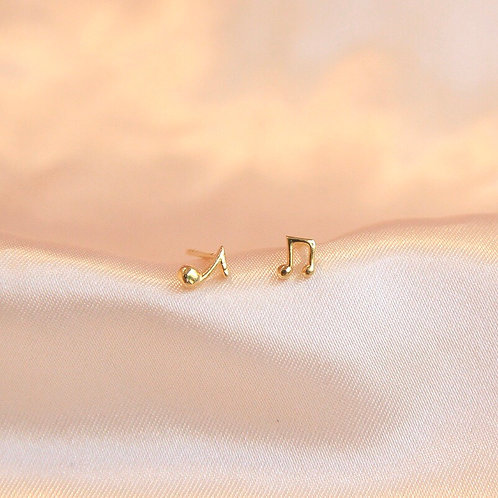 Tiny Music Note stud earrings
