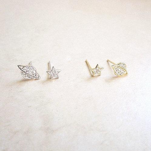 Star and Saturn stud earrings