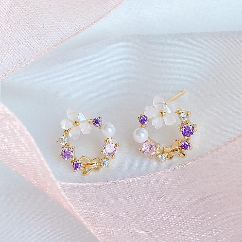 Spring Flower Wreath Earrings