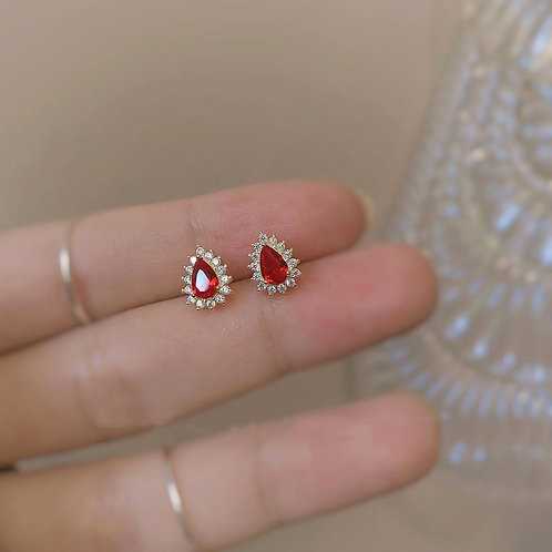 Cherry Red Czs Stud Earrings