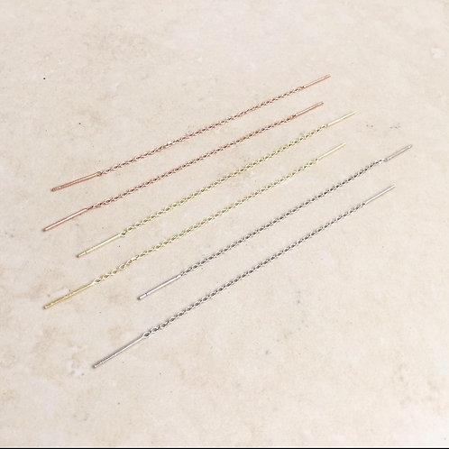 Slide thread chain earrings