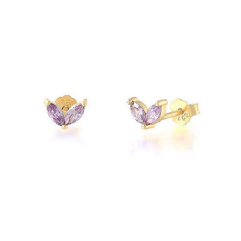 Purple Czs Wing Earrings