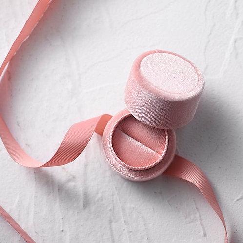 Pink velvet  gift box ( for ring and earrings)