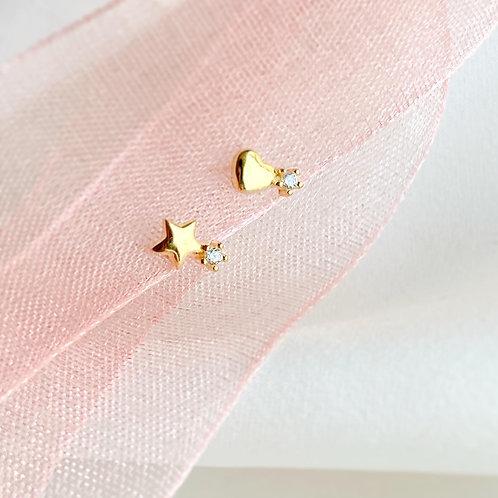 Star and heart stud earrings