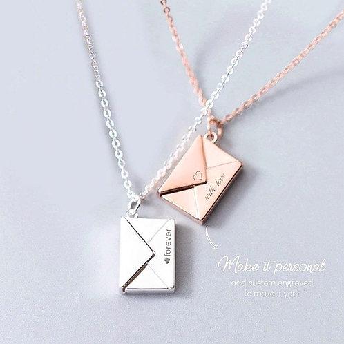 Custom engrave envelop and letter locket necklace
