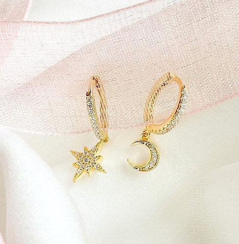 Pave Starburst and Moon Huggies Earrings