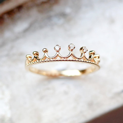 14K Solid Tiara Princess Ring