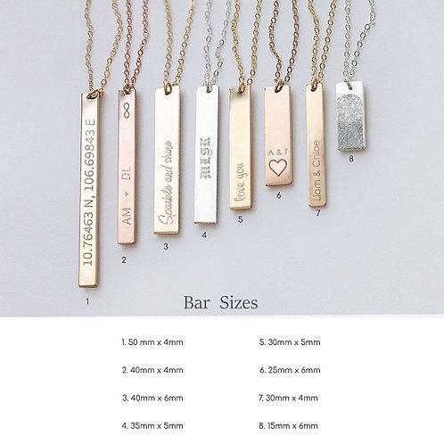 Bar drop cutom engrave necklace