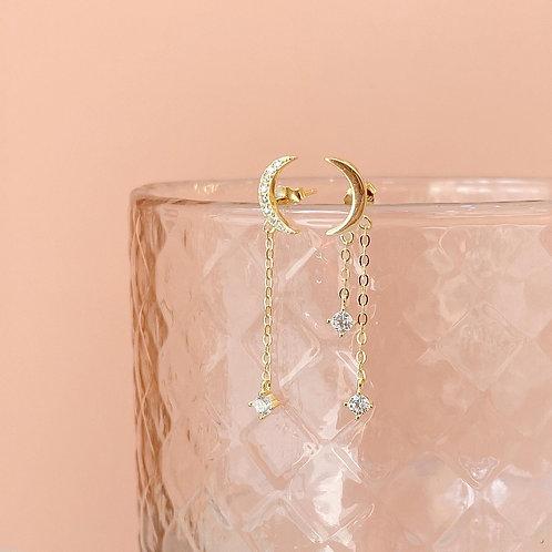 Moon mix length chain dangle earrings