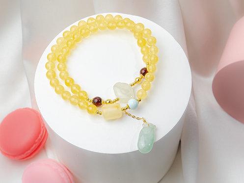 Honey Amber Gemstones bracelet (Double length)