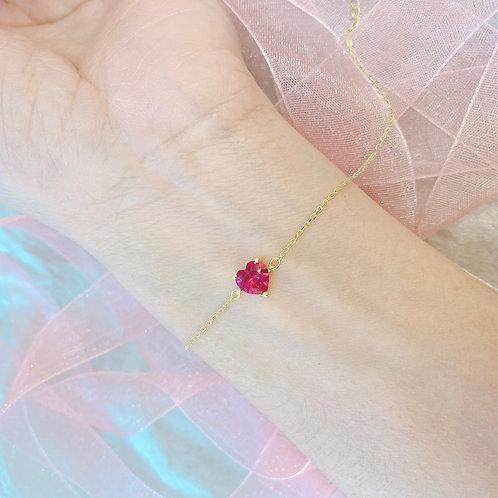 Pink Heart Czs Bracelet