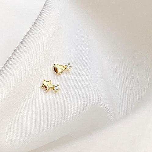 Tiny Heart & Star Earrings