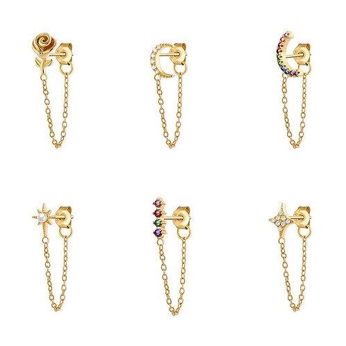 Joyful stud earring with connected chain (single)