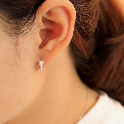 Heart shape Cubic Zirconia huggie earrings