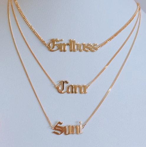 Custom Gothic Nameplate Necklace
