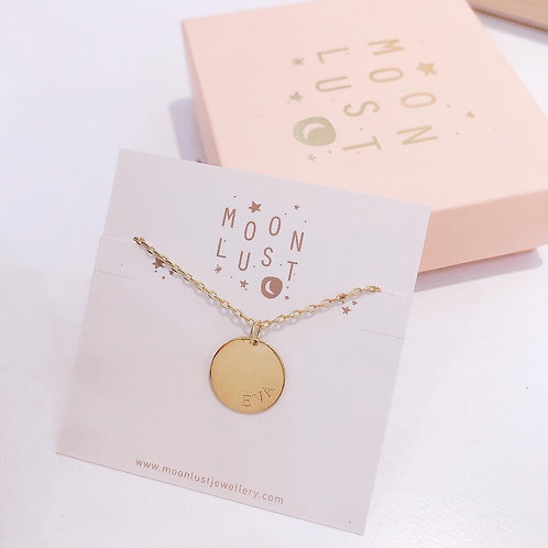 Custom Medium Disc engraved necklace