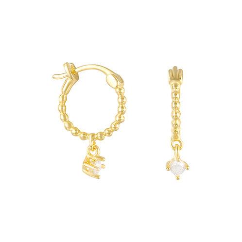 Braided Hoop earrings with dangle Czs