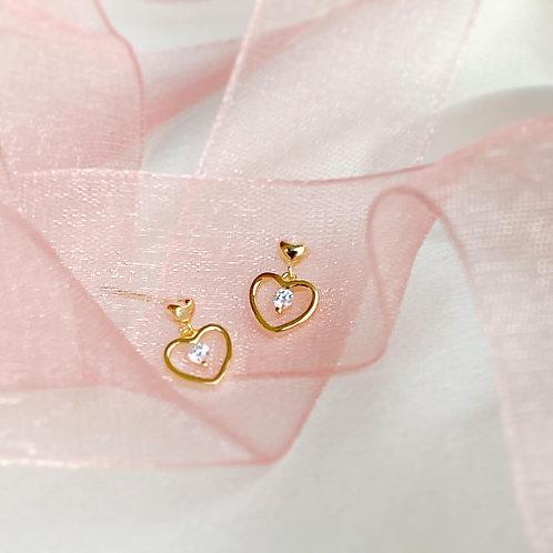 Dangle Heart Czs earrings