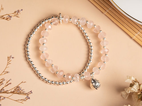 Due rose quartz gemstone bracelet