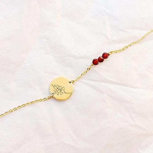 Birth flower engraved disc bracelet with gemstone