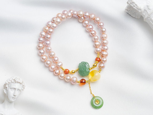 Pink Pearls and mix gems bracelet