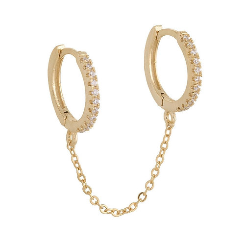 Pave Connected Chain Duo Earrings