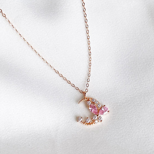 Pink Butterfly and Moon Necklace
