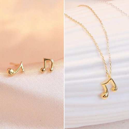 Music Note Necklace and Earring set