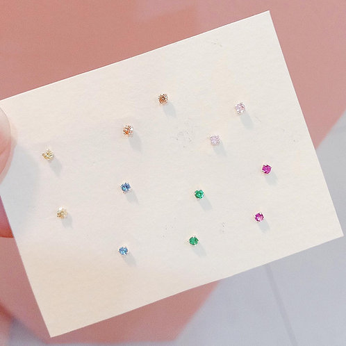 Color Czs stud earrings (1.5mm)