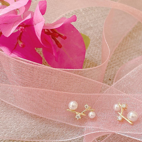 Pearl branch Czs earrings