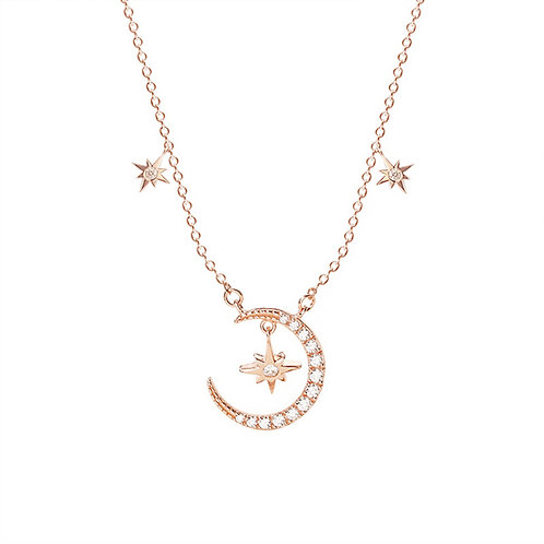 RoseGold Stella and Crescent Moon Necklace