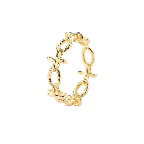 Golden Chain Pattern Ring