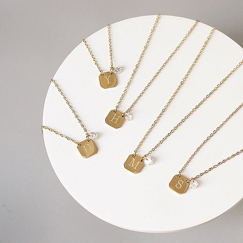 Engraved Initial Tag Necklace