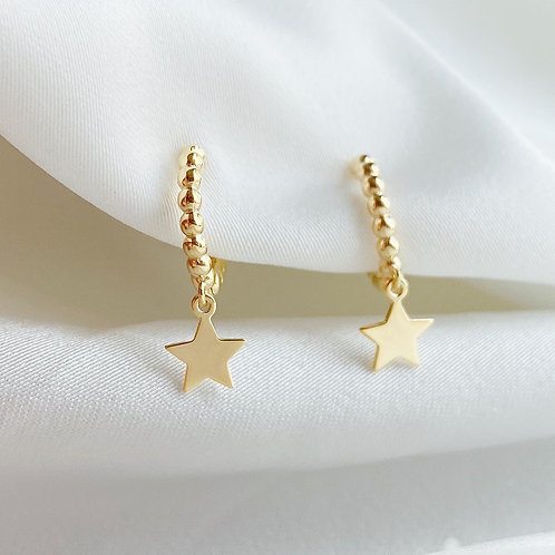 Star dangle beaded huggie hoop