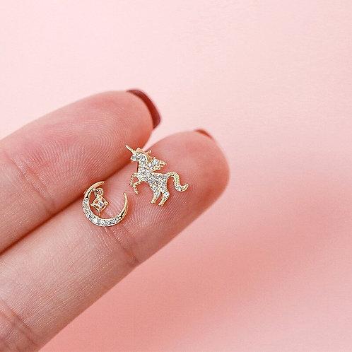 Unicorn and Moon stud earrings
