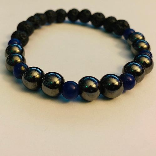 Lava Stone/Lapis/Hematite Bracelet