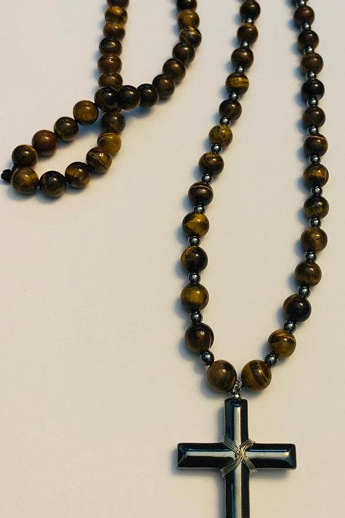 Tigereye Hematite Accented Prayer Necklace