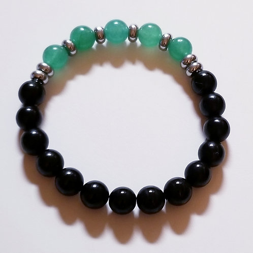 Black Jasper & Jade bracelet with silver accents