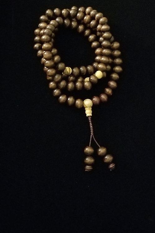 Dark Brown Mala Necklace with Guru Bead