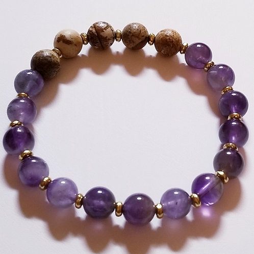 Amethyst & Jasper bracelet with gold accents