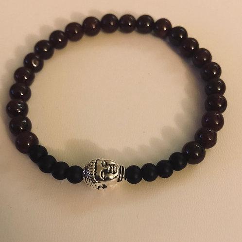 Garnet Buddha bracelet