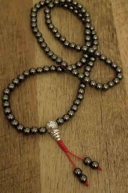 Hematite Mala with silver guru bead