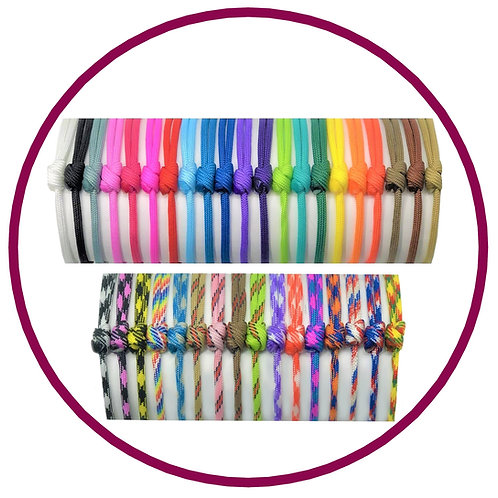 Range of bright coloured paracord whelping id collars from Posh Pets Boutique