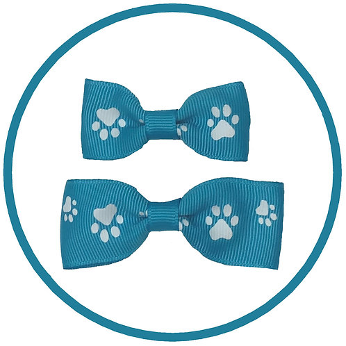 Turquoise Paw Print Dog Hair Bow from Posh Pets Boutique