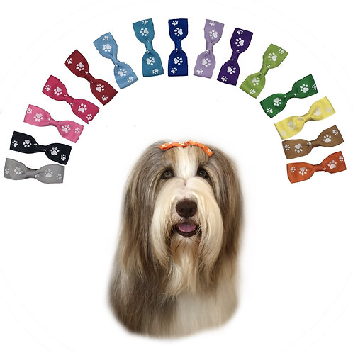 Range of Coloured Ribbon Hair Bows with White Paw Print Pattern sold by Posh Pets Boutique