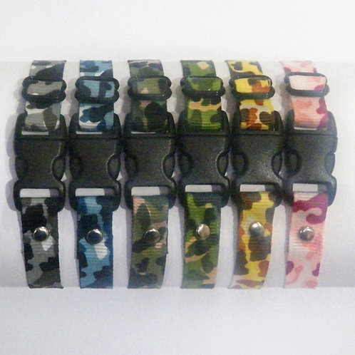 Set of 6 coloured camouflage puppy ID Whelping Collars from Posh Pets Boutique